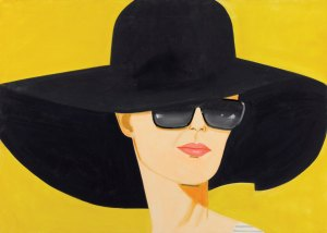 Painting of woman in big black had against yellow background