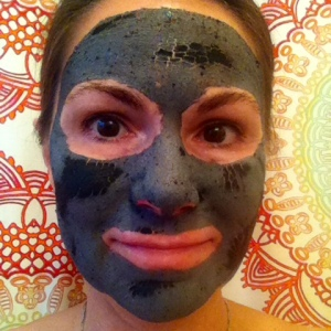 Charcoal mask almost dry